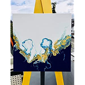 Acryl Fluid Painting I 50 x 50 x 1,9 cm I original handgemaltes Einzelstück I weiß, blau, gold I Leinwand auf Keilrahmen…
