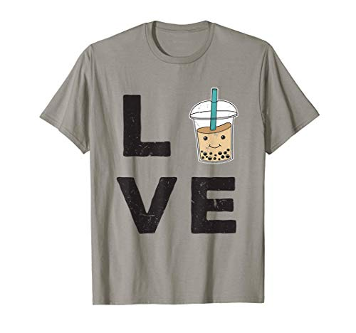 Retro LOVE Boba Bubble Leche Té Tapioca Perlas Chai Camiseta