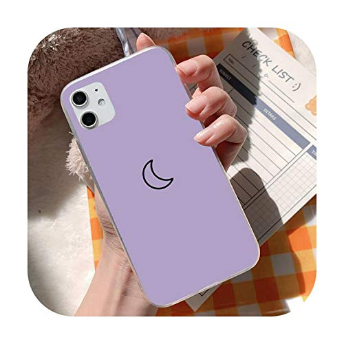 Funda para iPhone 5, 6, 7, 8, 11 Plus, XR X XS MAX SE2020, iPhone 11PRO, funda transparente sobre fondo púrpura 1 Bling Cute Case-a3-iPhone 7 8 SE2020