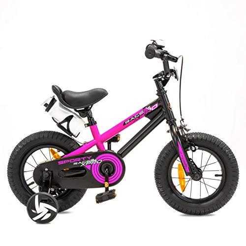 NB Parts Bicicletta per bambine e bambini, a partire dai 3 anni, da 12 / 16 pollici, Bambini, Magenta opaco., 12