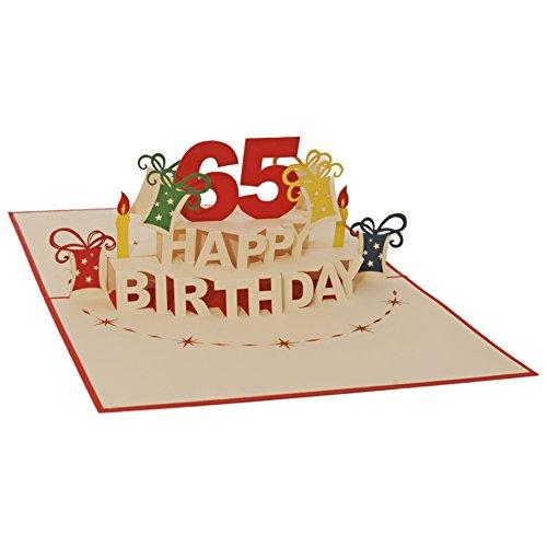 Favour Pop Up Glückwunschkarte zum runden 65. Geburtstag. Ein filigranes Kunstwerk, das sich beim Öffnen als Geburtstagstorte entfaltet. ALTA65R