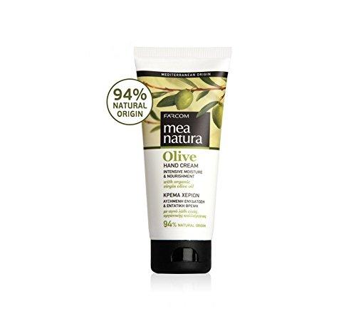 Mea Natura Olive Hand Creme, intensive Feuchtigkeit & Ernährung mit Bio Virgin griechischen Olivenöl, für alle Hauttypen, 100ml