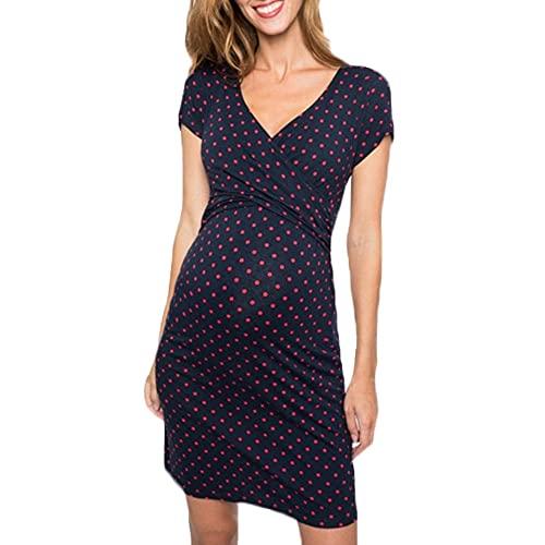 N\P Vestido embarazada sin mangas con cuello en V estampado vestido de maternidad vestido de enfermería