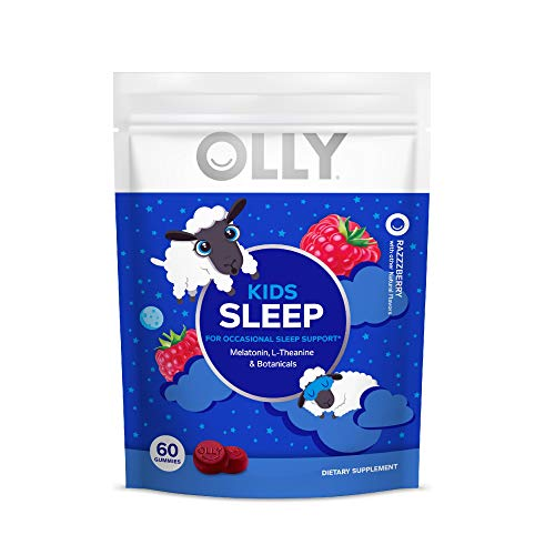 OLLY Kids Sleep Melatonin Gummy, Razzberry, 30 Day Supply, (60 Count) All Natural Flavor and Colors with L Theanine, Chamomile, and Lemon Balm