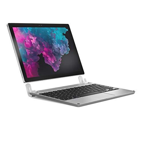 BRYDGE 12.3, Hochwertige Aluminium Bluetooth Tastatur, Deutsches Layout QWERTZ, für das Microsoft Surface Pro 3/4/5/6 und 7 (2019), Silber