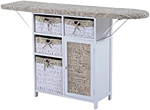 HOMCOM Drop Leaf Ironing Board with Shelves and Storage Boxes - Literary Print