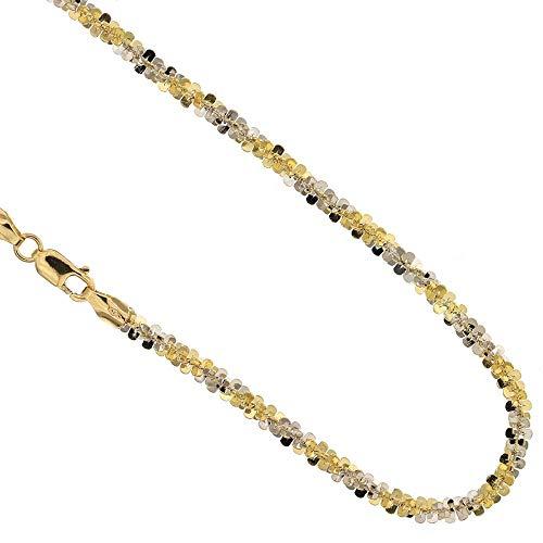 Collar de oro blanco y amarillo 18 kt 750/1000 Camiseta Flash para mujer