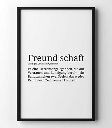 Papierschmiede Definition: Freundschaft | DIN A4 | Poster mit Worterklärungen wie im Duden für Deine Wanddeko | Kunstdruck für den Bilderrahmen - ohne Rahmen