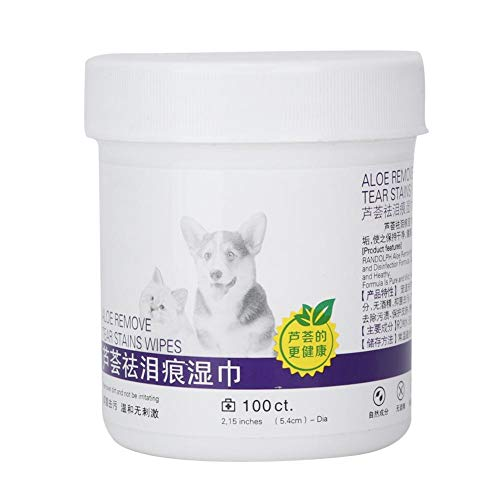 Redxiao Toallitas húmedas para Ojos de Mascotas, 100 Piezas de Material de algodón Suave y Suave con toallitas de Limpieza Suaves e inofensivas naturalmente no tóxicas para lágrimas de Perros y Gatos