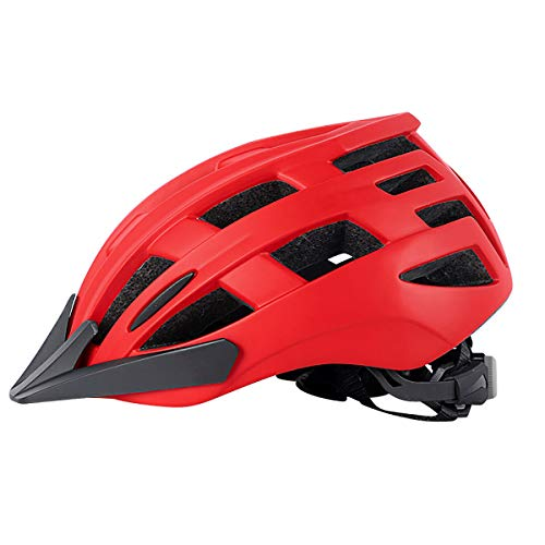BRAZT Casco de Bicicleta, Cascos de Bicicletas de montaña Ajustables con Visera Desmontable, Casco de Bicicleta de Carretera Ligero para Hombres Adultos Mujeres Seguridad,Rojo,L