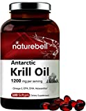 Maximum Strength Antarctic Krill Oil Supplement, 1200mg Per Serving, 180 Softgels, Source of Natural Omega 3, EPA, DHA and Astaxanthin, No GMOs
