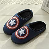 CCLIN Fashion Men Slippers Thick Bottom Winter Home Indoor Men And Women Warm Wool Cotton Shoes Large Size-Captain America,43-44