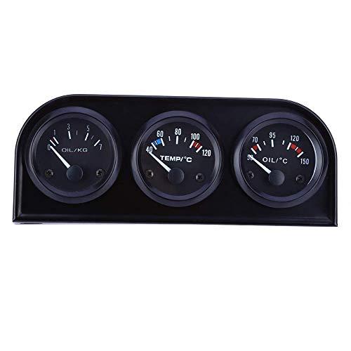 KEKEYANG Medidor Los 52MM de peso ligero 3 en 1 Medidor de combinación de coche auto del metro de agua de presión de aceite del sensor de temperatura Triple Juego de piezas de automóvil duradera Calib