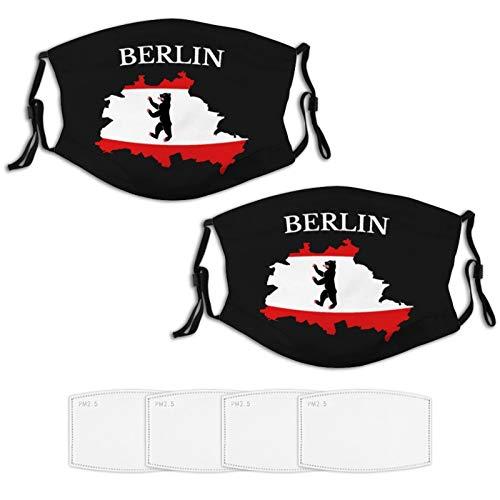 Nuberyl Berlin Flagge Karte 2 Stück Gesicht Masken Set Plus 4 Austauschbare Luftfilter Waschbar Wiederverwendbare Schwarze Tuch Schal Balaclava Bandanas Frauen Männer Erwachsene