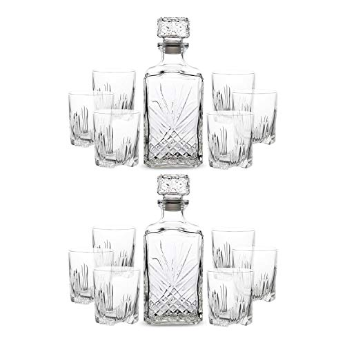 Bormioli Rocco Selecta Set Whiskey - Confezione doppia - Ogni scatola include un decanter da 1 L e set di 6 bicchieri da whisky 285 ml - Made in Italy