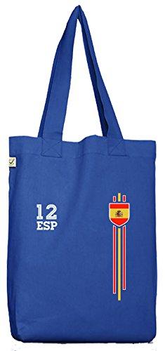ShirtStreet Espana Spain World Cup Fussball WM Fanfest Gruppen Bio Baumwoll Jutebeutel Stoffbeutel Streifen Trikot Spanien, Größe: onesize,Bright Blue