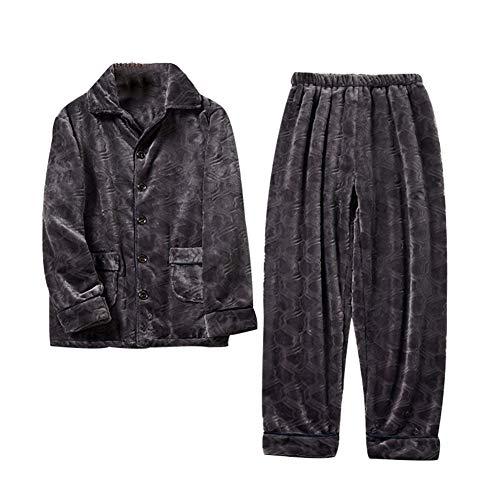 Pijamas De Hombre, Pijamas Gruesos Y Cálidos De Franela De Color Puro En Otoño E Invierno, Conjunto De Pijamas Casuales (Gris,XXXL)