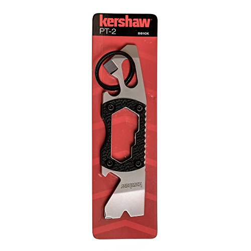 Product Image 1: Kershaw PT-2 Compact Keychain Pry Tool (8810X); Features Bottle Opener, Two Screwdriver Tips, Pry Bar, Wire Scraper, Three Hex Drives; Made of 8Cr13MoV Stainless Steel; 0.8 OZ, 3.75 In. Overall Length