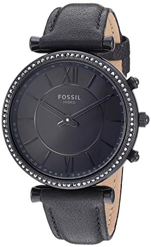 Fossil Women's Hybrid Smartwatch Stainless Steel Watch with Leather Strap, Black, 14 (Model: FTW5038)