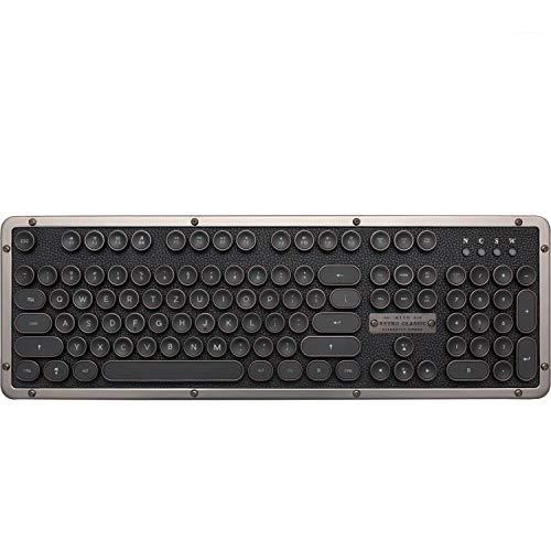 Azio Classic Retro-Tastatur Gunmetal, mechanische Schreibmaschinen-Tastatur, Steampunk-Tastatur mit Bluetooth, kabellos, beleuchtete Tasten, Vintage Look