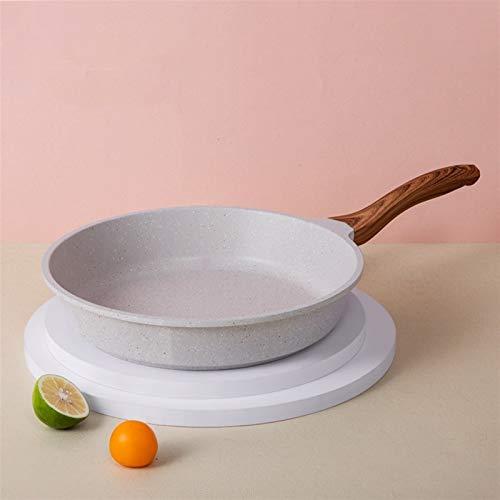 20-28cm Maifan Piedra Wok Freisco antiadherente con tapa de vidrio Profundización de la sartén para la cocina de la cocina de la inducción (Color : 28cm pan)