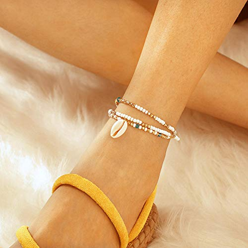 U/N Gold Color Chain Heart Anklet Sets for Women Bohemia Shell Star Sequins Ankle Bracelets Foot Jewelry-3