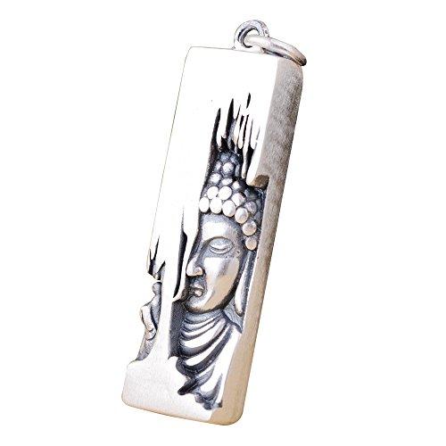 FORFOX Herren Damen Vintage 990 Sterling Silber Buddhismus Gründer Sakyamuni Buddha Bar Halskette Anhänger