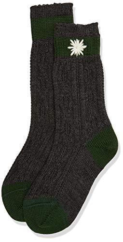 Lusana Jungen Kinder-Socke zweifarbig, bestickt Kniestrümpfe, Grau (Anthrazit/Tanne 0219), 27-30