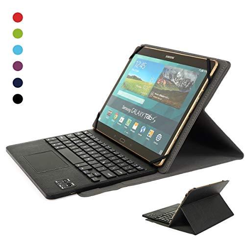 CoastaCloud kompatibel mit Tablet Samsung Galaxy Tabs mit Bluethooth Tastatur QWERTZ Deutsch mit Touchpad u. Hülle für Windows/Android mit 9-10.6 Zoll (Min 15x24cm, Max18x26cm) Schwarz