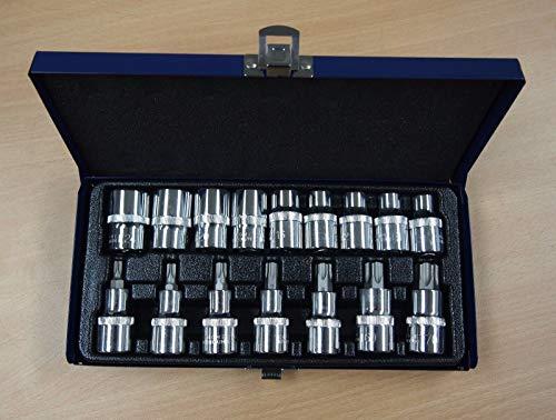 """DKA Future Set of 16 S2 STEEL Torx Star Bit Chrome Vanadium Socket Set 9 Male 7 Female T30-70 1/2"""" Drive"""