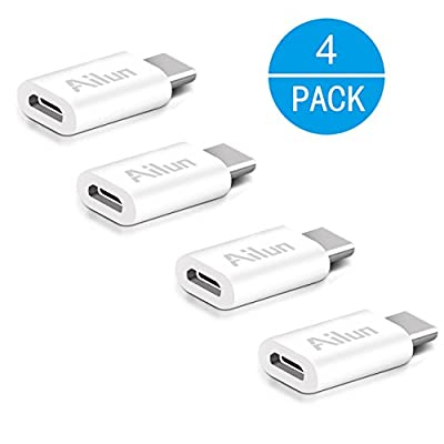 Ailun USB C Adapter,Type C Adapter[4Pack] Convert Micro USB to USB-C,Data Syncing and Charging,for Galaxy s20 s20+ S20Ultra,MacBook,ChromeBook Pixel,Nexus 5X/6P&all Type C Supported Device[White]