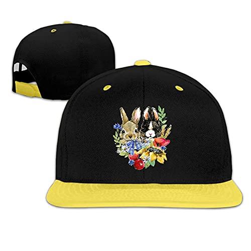 N - A Gorra de béisbol acuarela conejo niños unisex Hip-Hop Cap algodón ajustable Snapback sombrero de sol rosa