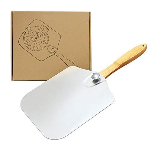 Cozy Vibe Pizzaschaufel mit großer Fläche - 30,5cm x 35,5cm, Pizzaschieber Aluminium, Griff aus Holz,pizzastein Grill,