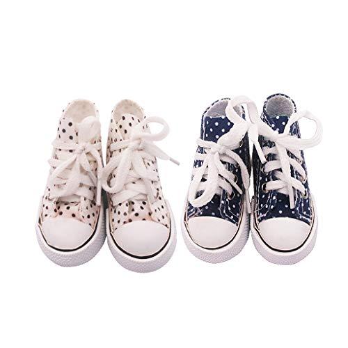 Amuzocity 2 Pares de Zapatos de Lona Azules Y Blancos de 7,5 Cm Encantadores para Disfraces de Bricolaje BJD 1/3