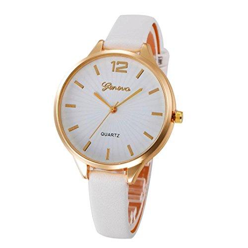 Armbanduhr Damen Uhr Xinnantime Casual Checkers Faux Leder Analoge Quarz Damenuhr Frauen Farbe 6 (Standard, Weiße)