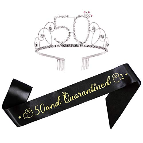 50th Birthday Gifts for Woman 50th Birthday Sash and Tiara Set 50th Quarantined Birthday Decorations Set of 2 Quarantine Birthday Party Supplies Quarantine Birthday Queen