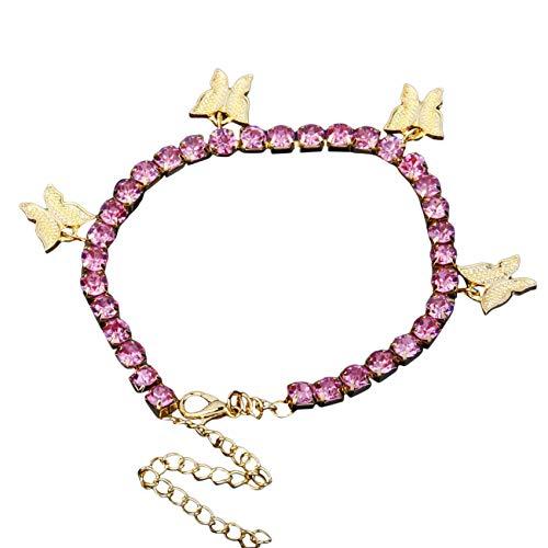 ZSDFW Pulsera de mariposa elegante con cadena brillante y elegante pulsera de cadena para mujeres y niñas, regalo de Acción de Gracias, oro rosa