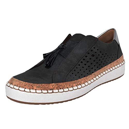 Zapatos Mujer Ligeros Cómodos Mocasines Piel Hueco Zapatos Plataforma Casual Zapatillas Trail Running Calzado Plana Suave Deportivas Trekking Senderismo Yvelands