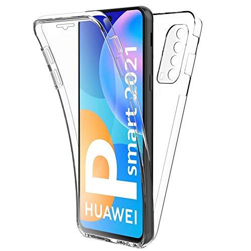 HUANGTAOLI Cover per Huawei P Smart 2021, Custodia 360 Gradi Protezione Trasparente Ultra Sottile in Silicone TPU Anteriore e PC Indietro (Peppa-L02B, Peppa-L21B, 6.67')