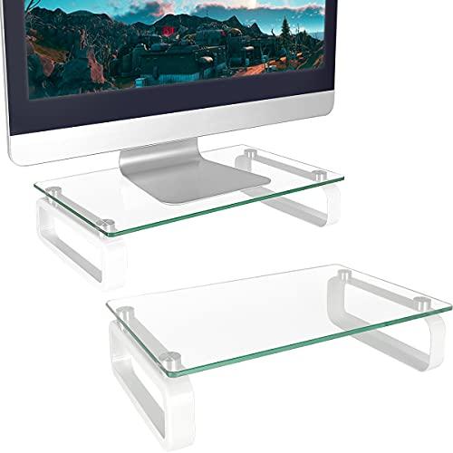 Dos Soporte para Monitor Vidrio Templado Elevador Claro HD02T-201P