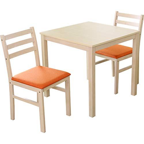 DORIS ダイニングテーブル 2人用 ダイニングテーブルセット 3点セット 75cm幅 ホワイトウォッシュ 天然木 ファブリック座面 オレンジ アンドリア
