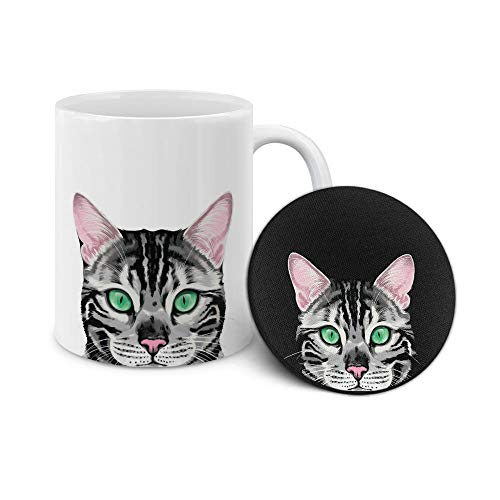 WIRESTER 11 OZ Ceramic Coffee Mug Tea Cup with Neoprene Coaster, 2 Piece Set - Spotted Silver Bengal Kitten Cat