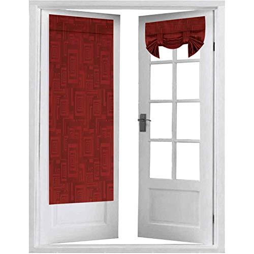 Cortina de puerta francesa, rectángulos anidados con formas geométricas repetidas ilustraciones de colores vivos, 2 paneles de 66 x 172 cm, aislamiento térmico para ventana, color granate