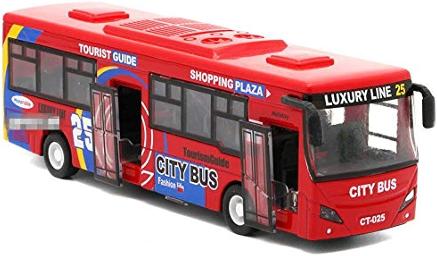 Generic 1 32 Alloy car Models,high Simulation City Bus , Metal diecasts, Toy Vehicles, Pull Back & Flashing & Musical, Red