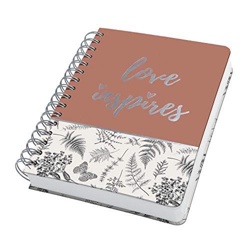 SIGEL JN605 Carnet de notes à spirale premium, 16,2 x 21,5 cm, pointillé, couverture rigide, motif feuilles, noir/beige/marron