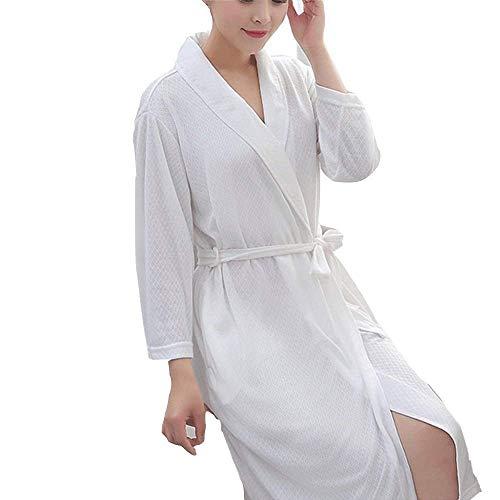 HYY-YY Emmala Dames Badjas Dunne Robe Sauna Jacket Gemaakt van 100% Stijlvolle Unieke Polyester Vezels Met Twee Praktische Zakken Wit Thuis Mode Comfortabele pyjama (Kleur: Wit, Maat : M)