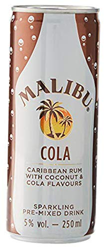 Malibu Bebida y Cócteles Premezclados & Cola Lata 5º, 250 ml