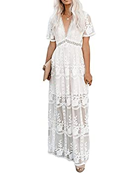 Ecosunny Women s Deep V Neck Short Sleeve Floral Lace Bridesmaid Maxi Dress Party Gown White S