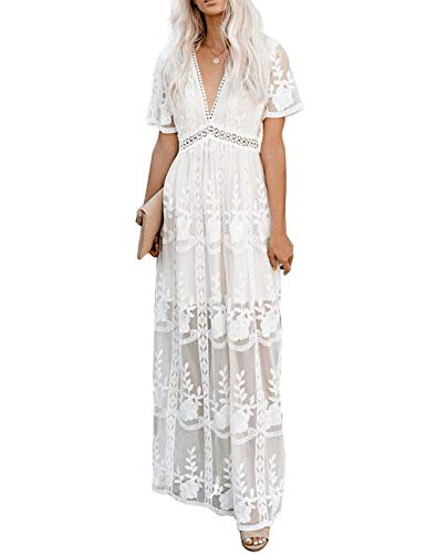 Ecosunny Women's Deep V Neck Short Sleeve Floral Lace Bridesmaid Maxi Dress Party Gown WhiteL