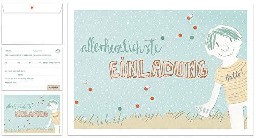 12 Einladungskarten Kindergeburtstag Jungen - allerherzlichste Einladung - Geburtstagseinladungen für Kinder BLAU - Postkarten Set für Geburtstag oder Einschulung INKL. Umschläge - Vintage Design